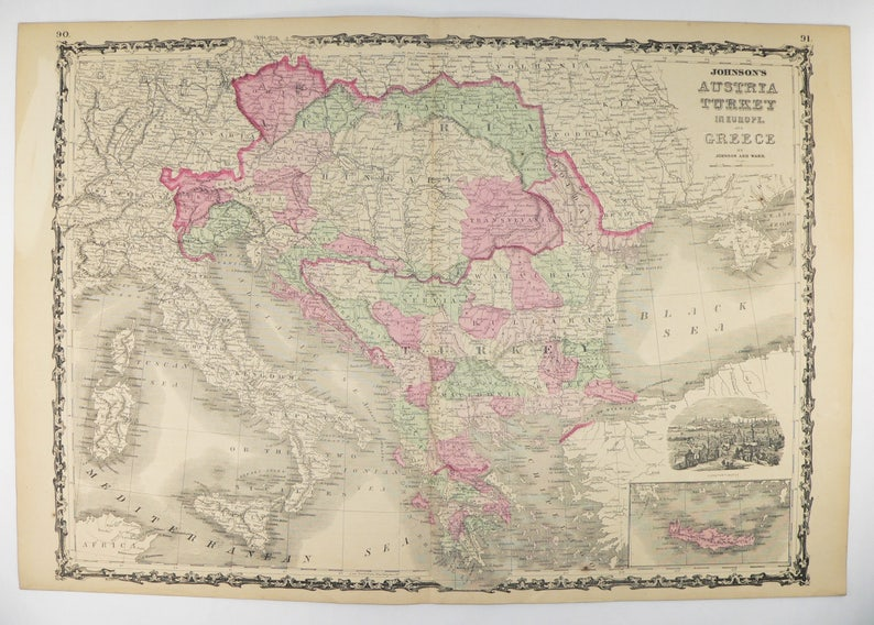 Antique Greece Map Austria Balkan Peninsula Map 1864 Johnson | Etsy