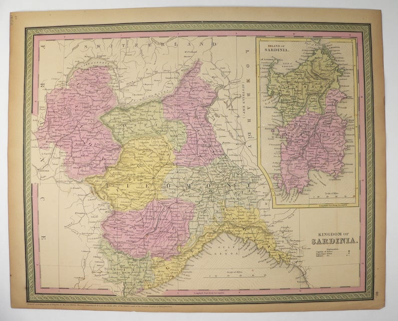 Map Of North West Italy.1852 Antique Italy Map Northwest Italy Sardinia Map 1852 Etsy