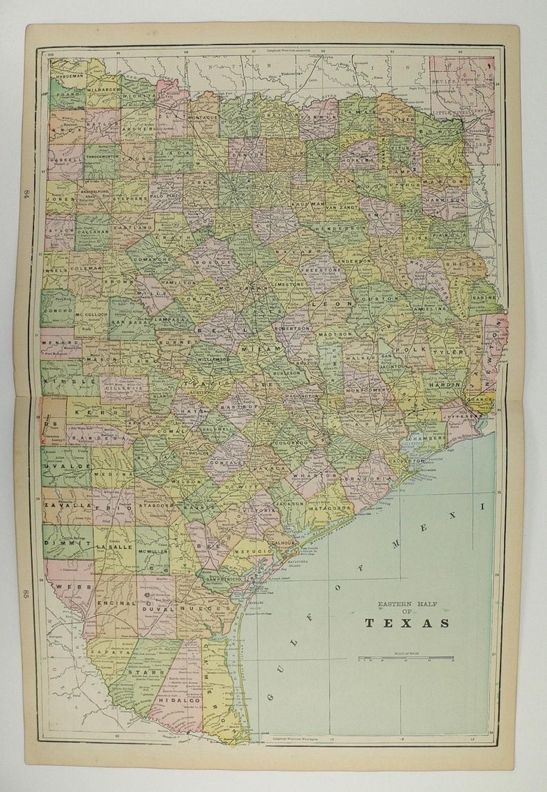 Map Of East Arizona.1898 East Texas Map Arizona Nevada Map Original Vintage Map Etsy