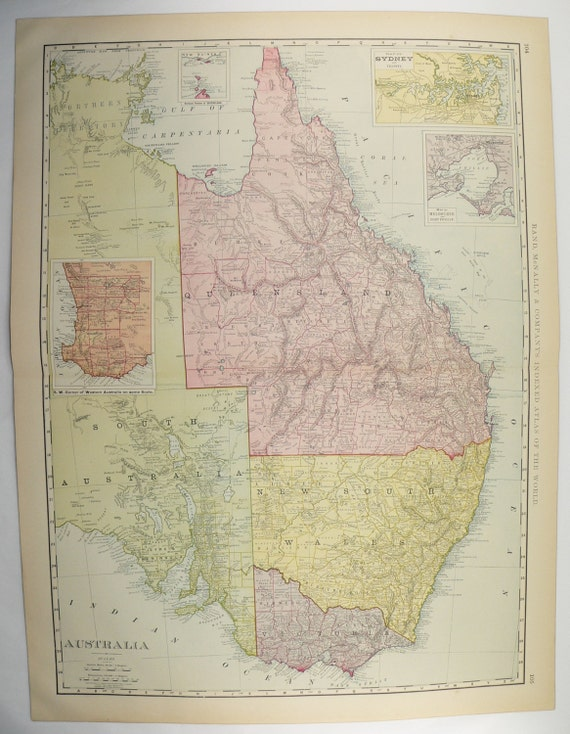 Map Of Australia 1901.Large Vintage Map Of Australia 1901 Antique Australia Map Australian Decor Unique Office Gift For Coworker