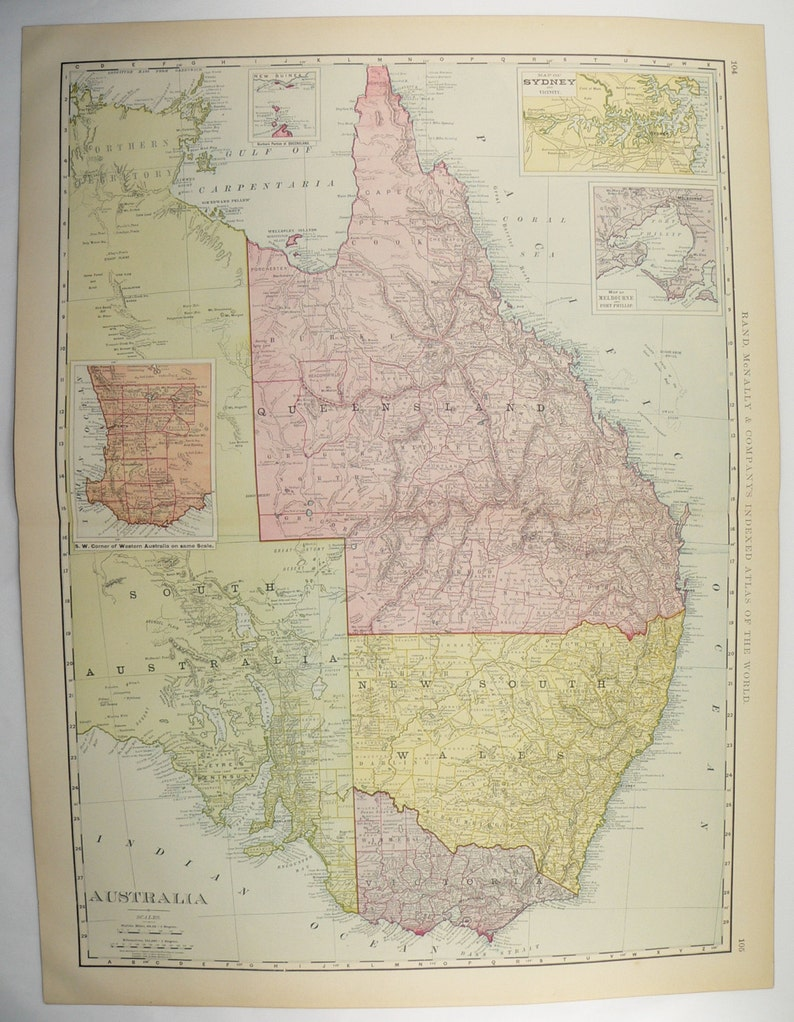 Large Map Of Australia.Large Vintage Map Of Australia 1901 Antique Australia Map Australian Decor Unique Office Gift For Coworker