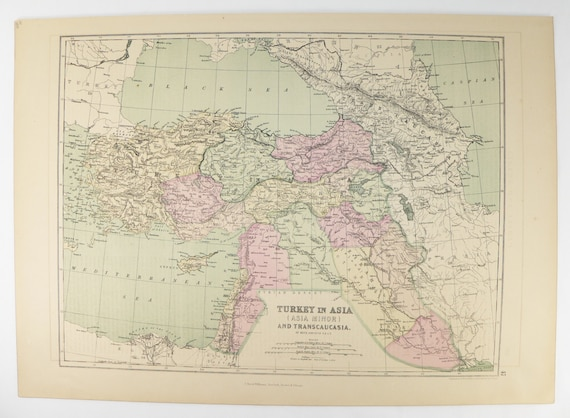 Antique Turkey in Asia Map 1873 Middle East Map, Palestine, Iraq Map  Kurdistan, Syria Map Armenia, Vintage Map Man Cave Decor Gift for Him