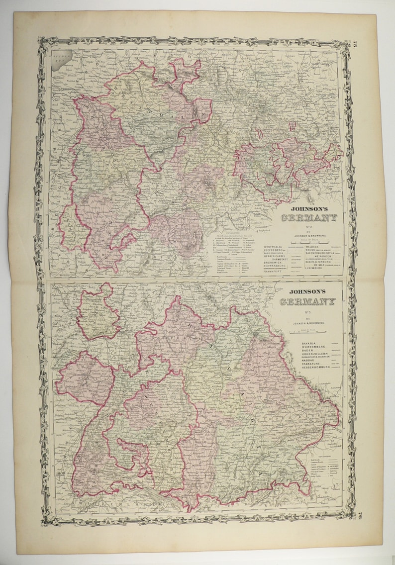1861 West Germany Map Southern Germany Antique Map Johnson Etsy