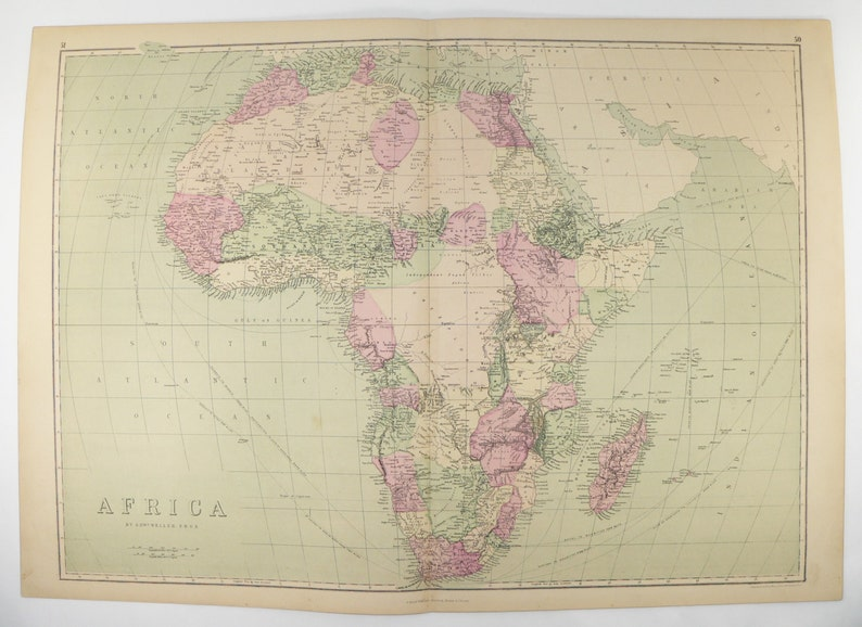 Large Antique Map Africa 1873 Handcolored Africa Map Vintage Etsy
