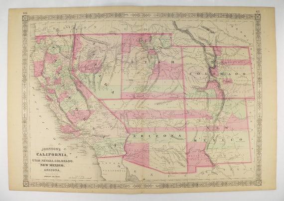 1864 California Map Colorado New Mexico Map Arizona Nevada | Etsy