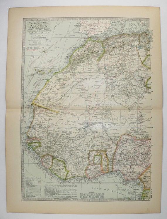 1899 Antique Map Of Africa Northwest Africa Map Sahara Etsy