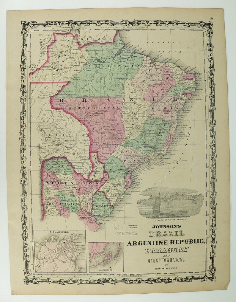 1800s Map Of America.1800s Antique Map Of Brazil South America 1863 Johnson Map Etsy