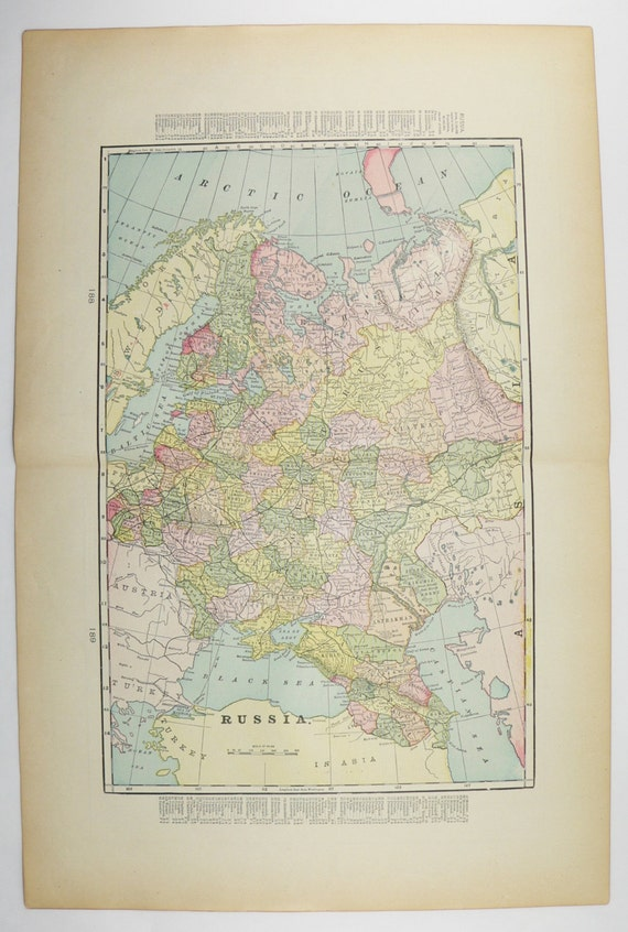 Antique Map Russia Sweden Map Norway 1900 Vintage Decor Gift Etsy