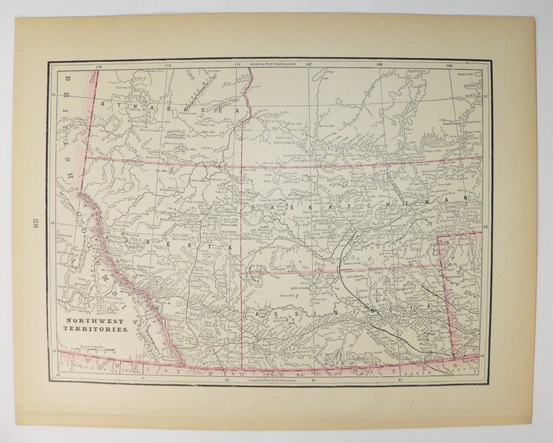 Northwest Territories Map Manitoba Nwt Canada Map 1897 Vintage Art Map Canadian Decor Wall Map History Buff Gift Canada Gift For Guy
