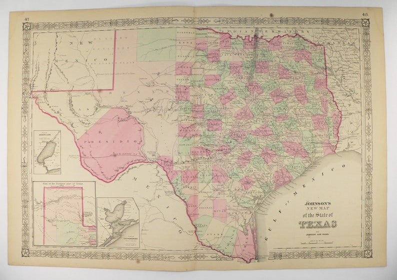 Large Map Of Texas.1864 Large Map Of Texas Original Antique Texas Map By Johnson And Ward