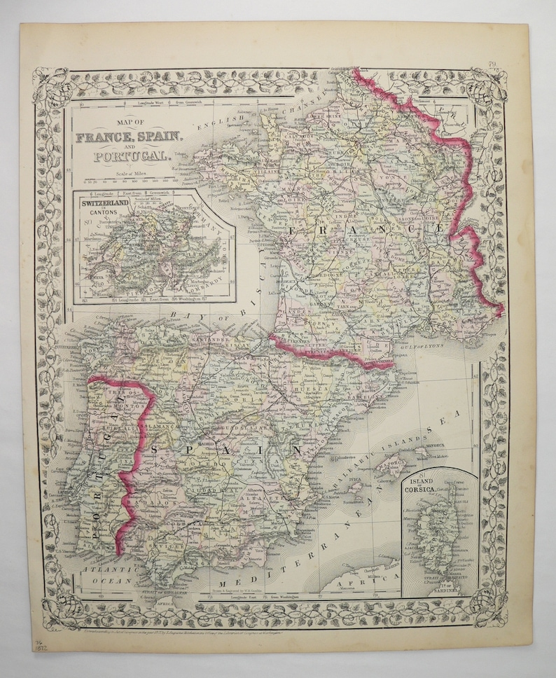 Map Of Spain Portugal And France.1872 Mitchell Map Of France Spain Map Portugal Europe Travel Etsy