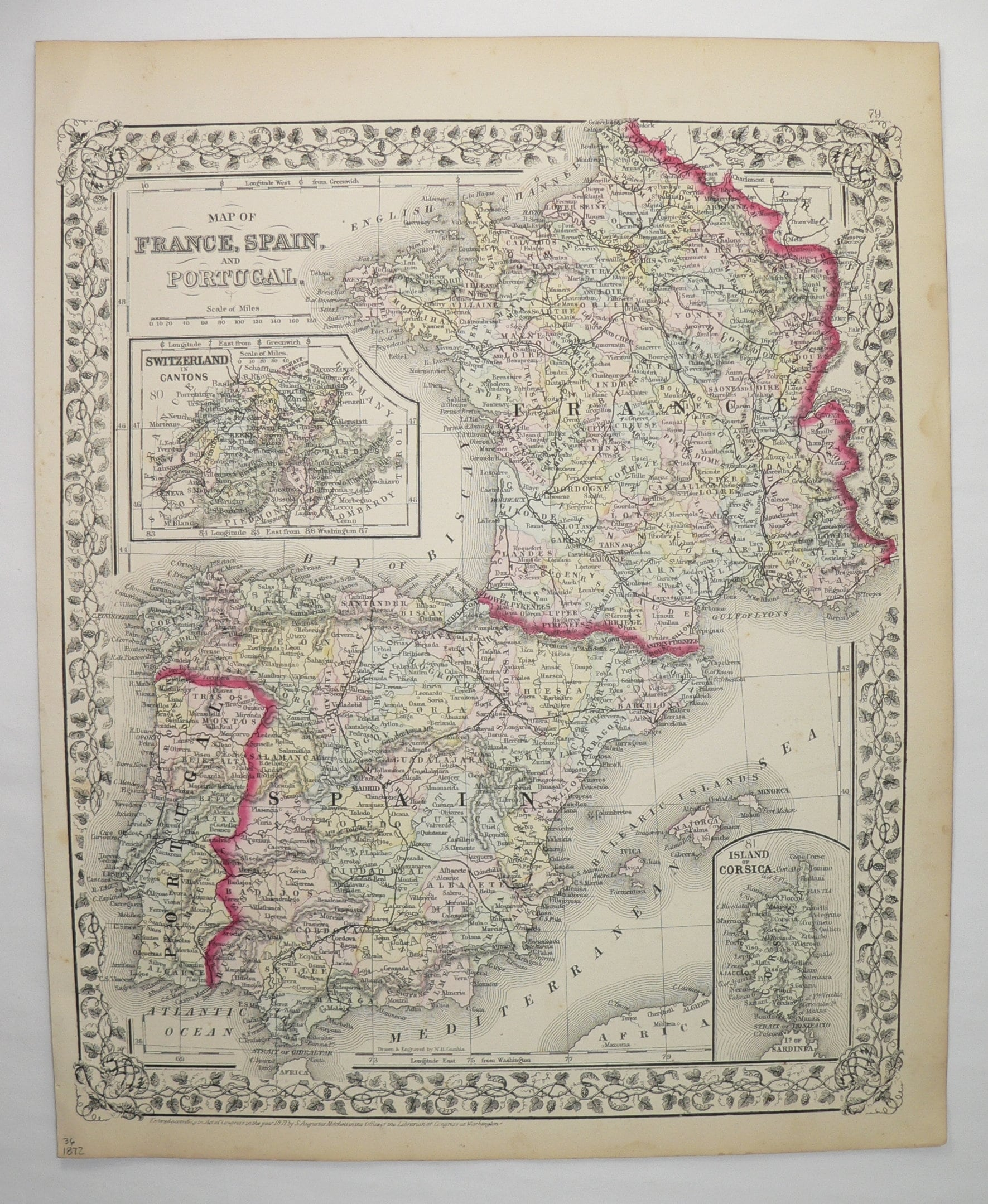 Map Of Spain Portugal And France.1872 Mitchell Map Of France Spain Map Portugal Europe Travel Map Wanderlust Gift Old France Map Spain Portugal Map France Gift For Her