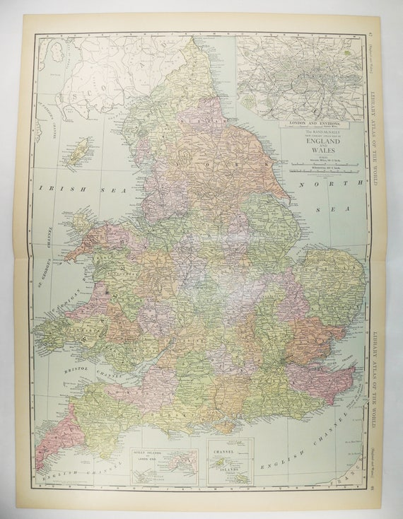 Large Map Of England 1912 Vintage Map United Kingdom Great Etsy