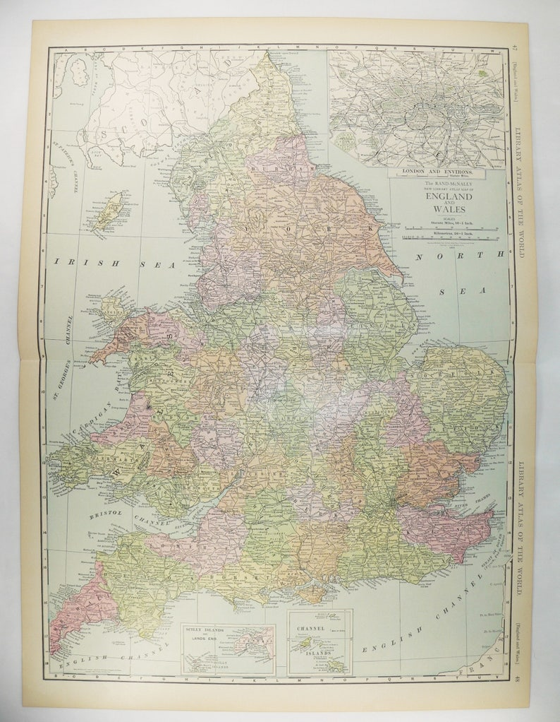 Large Map Of England.Large Map Of England 1912 Vintage Map United Kingdom Great Etsy