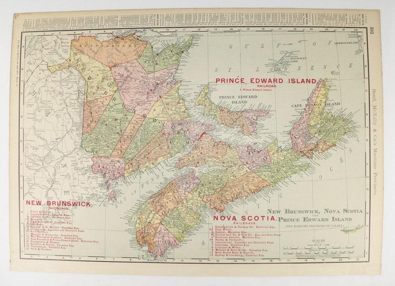 Islands Of Canada Map.1903 Nova Scotia Map New Brunswick Prince Edward Island Cape Breton Island Canada Maritime Provinces Map Canada