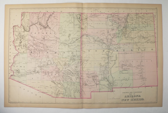 1886 Antique Map of Arizona and New Mexico, Large Pastel Map by Bradley,  Southwestern Decor