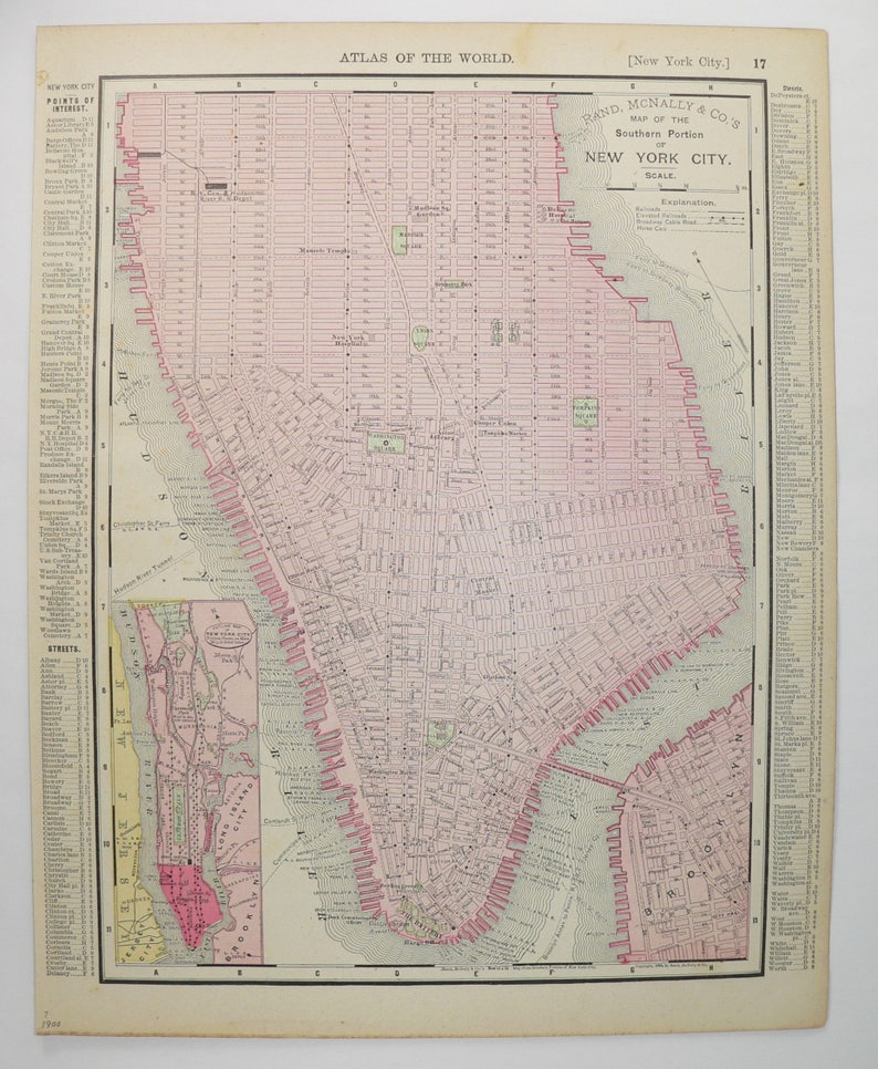 Vintage Nyc Map Manhattan Brooklyn Map 1900 New York City Etsy