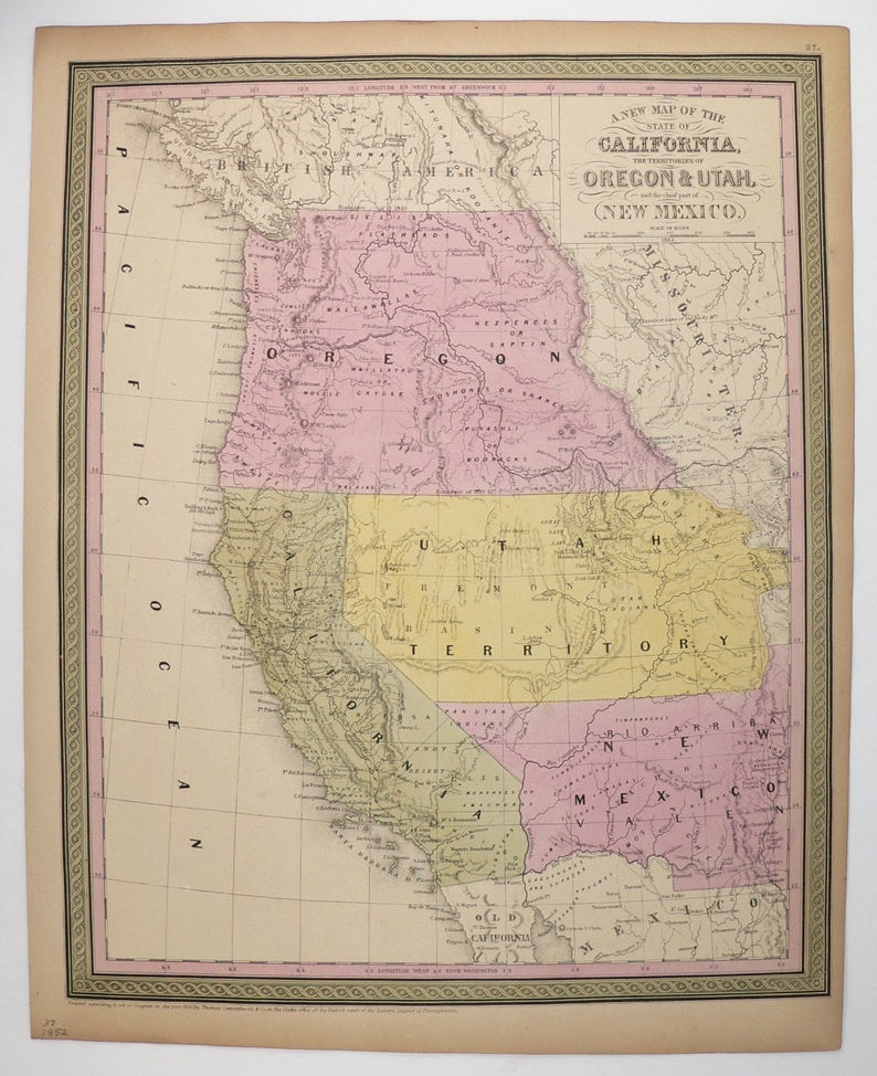 Utah And Idaho Map.Rare 1852 Mitchell Cowperthwait Map Of California Oregon Etsy