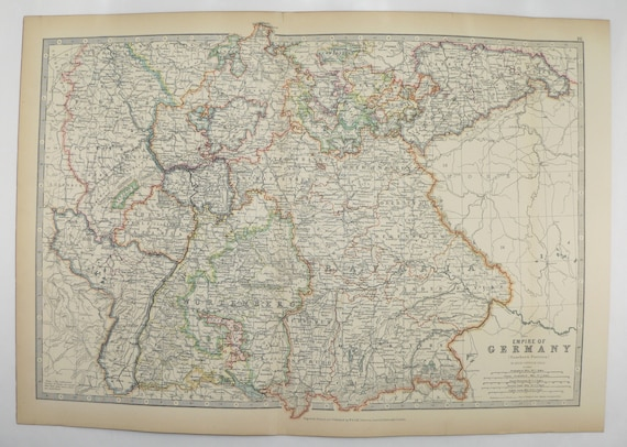 1905 Southern Germany Map Empire Of Germany By Johnston Etsy