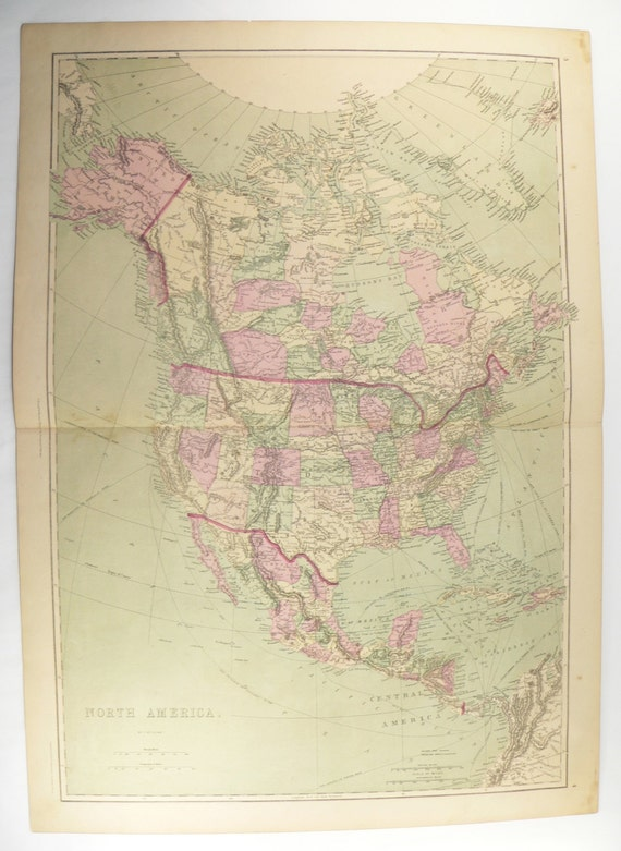 1873 North America Map United States Mexico Map Canada Etsy