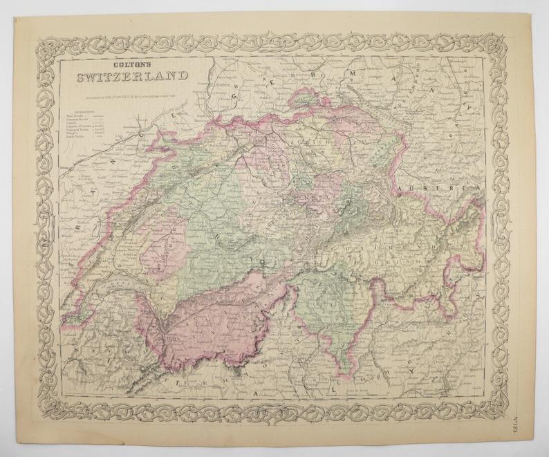 1881 Switzerland Map Swiss Alps 1881 Colton Map Switzerland | Etsy