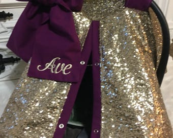 Gold Sparkle Car Seat Canopy With Bow And Name Carseat Cover Ooak Sequin Infant
