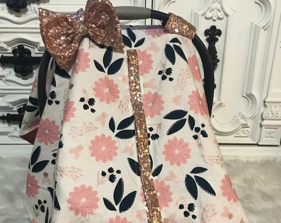 Car seat canopy , floral , Rose  Gold , Just a touch of sparkle , simple , chic and elegant