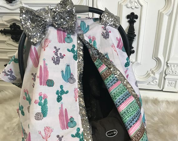 Car seat canopy , Cactus  with silver sparkle