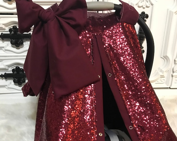 Car seat canopy , red sparkle with Jumbo bow