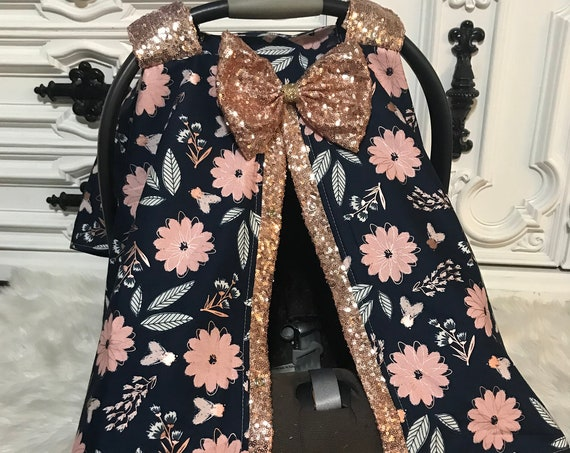 Car seat canopy , Navy floral , Rose  Gold , Just a touch of sparkle , simple , chic and elegant