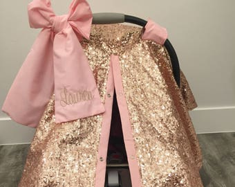 Rose Gold and Baby Pink car seat canopy with bow and name / carseat cover / carseat canopy /sequin / infant car seat cover / gold / sparkle