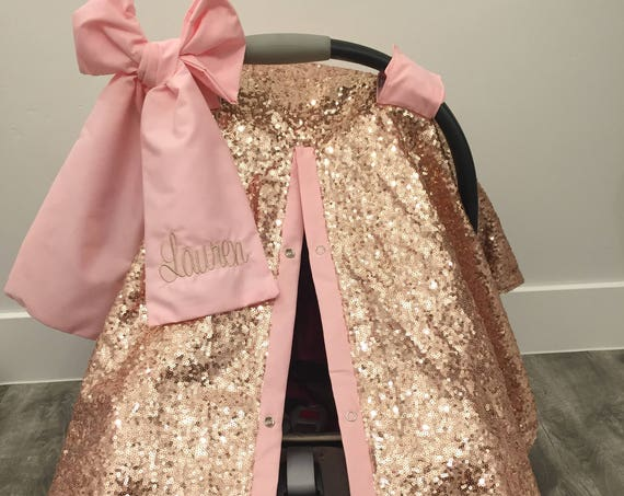 Rose Gold and Baby Pink car seat canopy  / carseat cover / carseat canopy /sequin / infant car seat cover / gold / sparkle