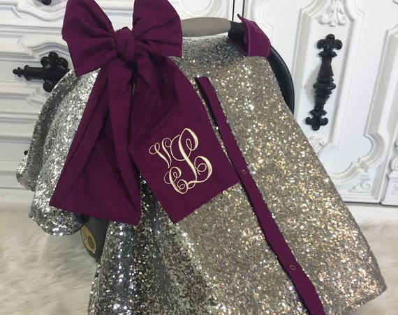 Silver  sparkle car seat canopy with bow and name / carseat cover / carseat canopy / ooak / sequin / infant car seat cover / gold / sparkle