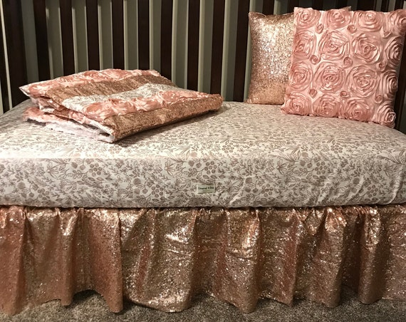Crib bedding , crib sheet , crib skirt , crib quilt , throw pillows , 5 piece set
