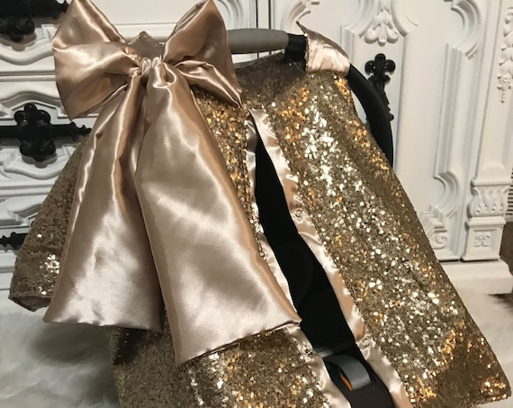 Gold N gold , car seat canopy , gold sparkle with gold satin