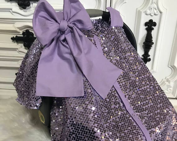 Car seat canopy , lavender sequin with jumbo matching bow