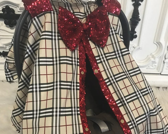 Burberry inspired car seat canopy , car seat cover , nursing cover , designer car seat canopy