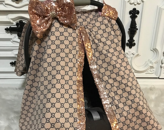 Car seat canopy , Gucci inspired , custom car seat canopy , Jumbo BLING bow included