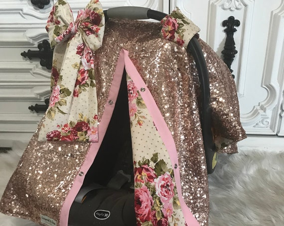 Rose gold and Floral sparkle car seat canopy and jumbo bow ,carseat cover / carseat canopy /sequin / infant car seat cover / gold / sparkle