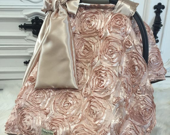 Rose Gold and Gold car seat canopy / rosette / OOAK / Blessing / Christening / car seat canopy / car seat cover / jumbo bow