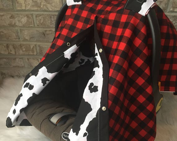 car seat canopy , car seat cover , buffalo plaid , cow print , 2 in 1 , nursing cover