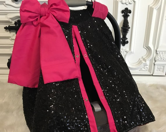 Black and Hot Pink sparkle car seat canopy / carseat cover / carseat canopy / ooak / sequin / infant car seat cover / silver / sparkle