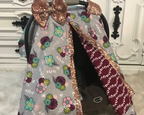 Car seat canopy , floral with rose gold sparkle