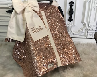 Rose Gold And Cream Car Seat Canopy Carseat Cover Sequin Infant Sparkle