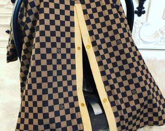 Car Seat Canopy LV Print With Tan Accents Perfect For Him Or Her Damier