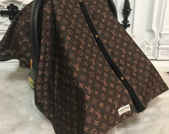 Car Seat Canopy LV Print With Black Accents Perfect For Him Or Her