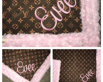 LV Blanket With NAME Baby YOU Pick Minky Color