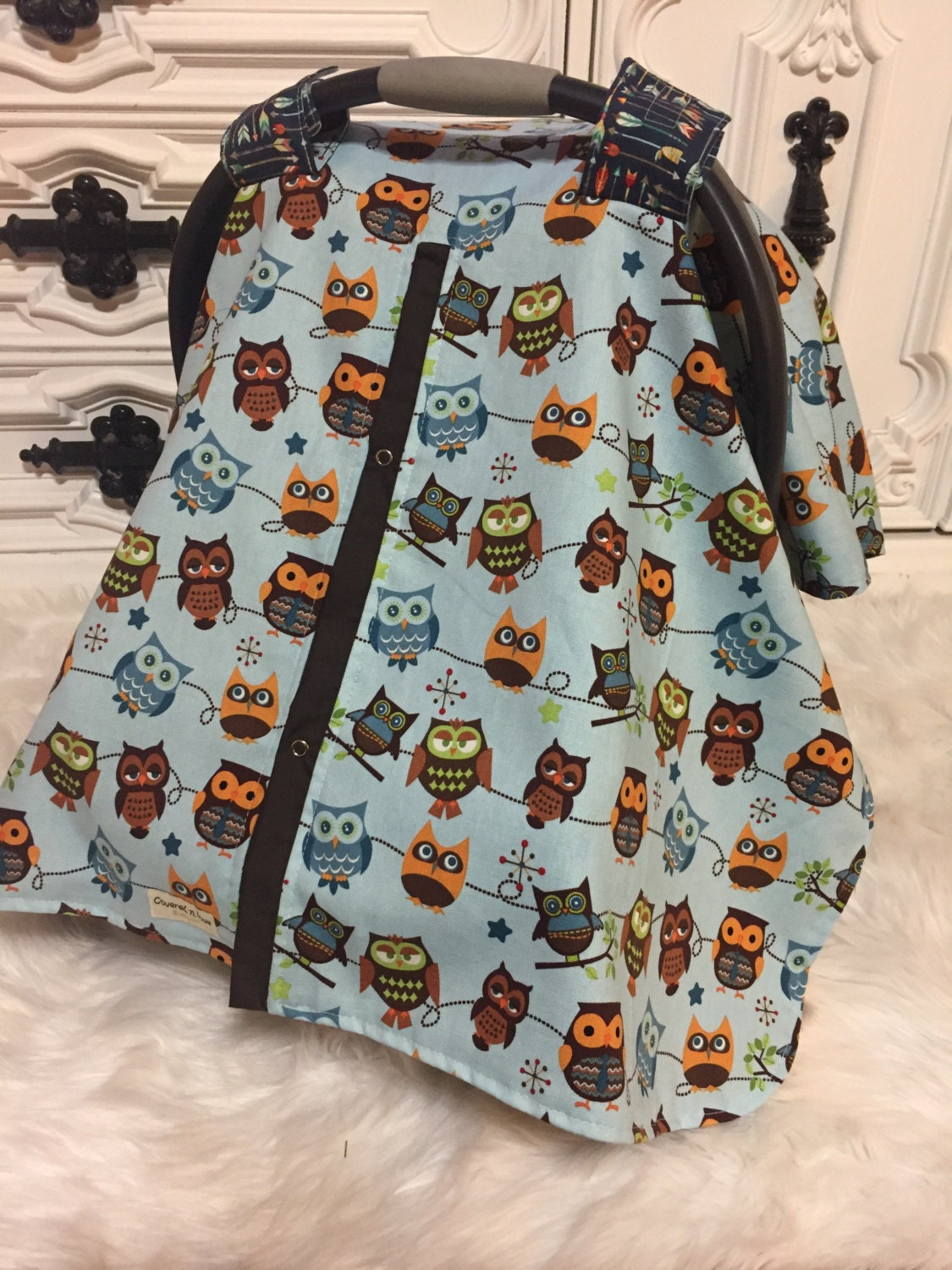 Owl Car Seat Cover Carseat Carseatcover Canopy Boy