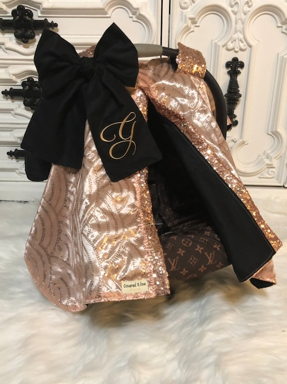 Rose Gold and black car seat canopy  / carseat cover / carseat canopy /sequin / infant car seat cover / gold / sparkle