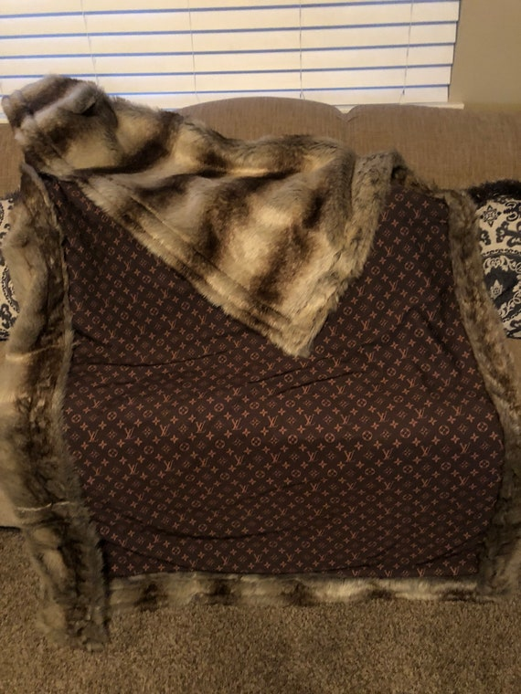 jumbo LV with fur accent , huge couch throw , adult blanket , accent blanket , home decor